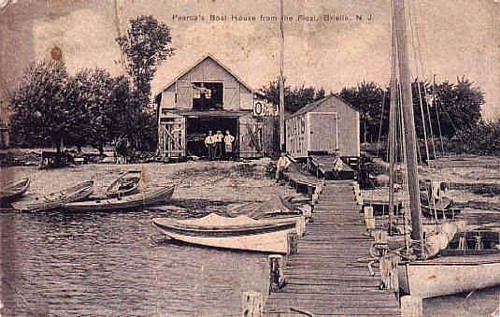 (Circa 1900) Pearce's Boat House from Float, Manasquan River
